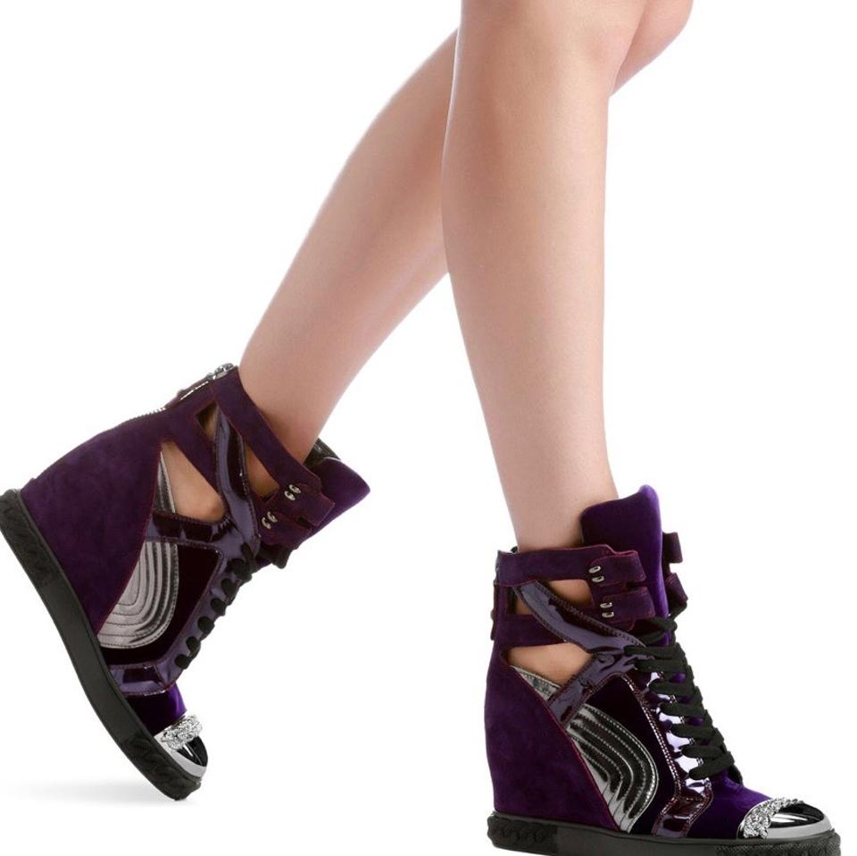 a1bf7bb8183 Casadei Purple Sneakers Wedges Size US 6 Regular (M