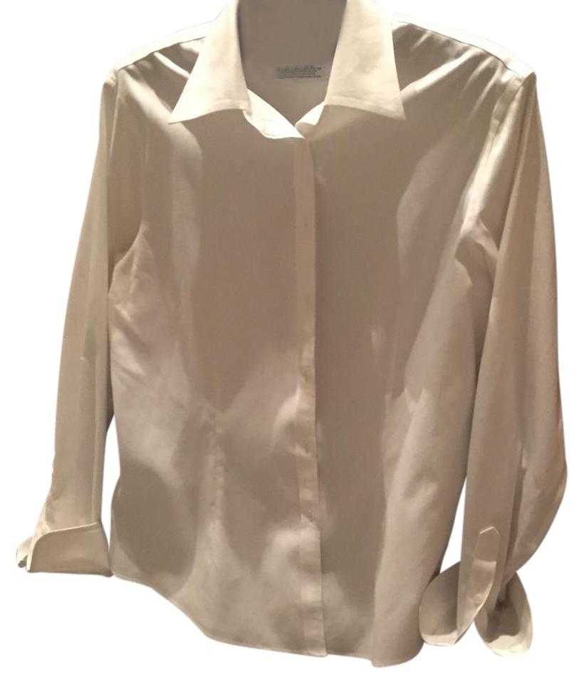 Brooks brothers white no iron fitted dress shirt button for Best no iron shirts