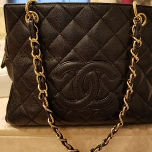 Chanel Leather Discontinued Monogram Tote in Black