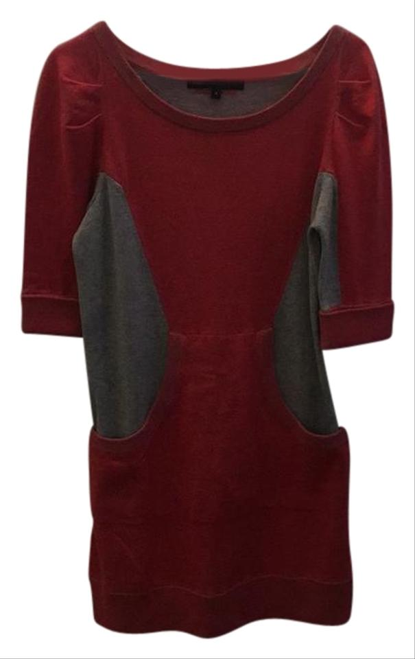 marc by marc jacobs light red and grey casual dress with pockets sweater pullover size 6 s. Black Bedroom Furniture Sets. Home Design Ideas