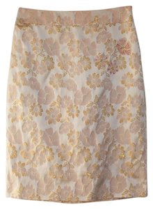 Banana Republic Pencil Floral Embroidered Brocade Silk Skirt Pink