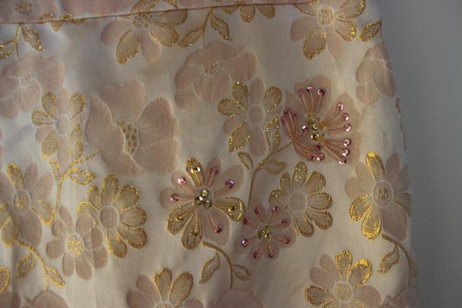 Banana Republic Pencil Floral Embroidered Brocade Silk Skirt Pink Image 1