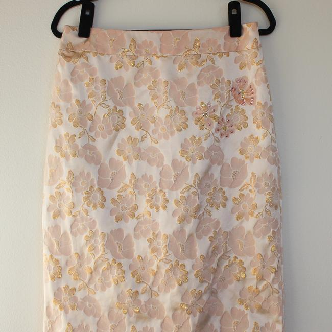 Banana Republic Pencil Floral Embroidered Brocade Silk Skirt Pink Image 2
