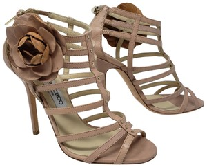 Jimmy Choo Floral Strappy Gold Hardware Gladiator Studded Beige Sandals