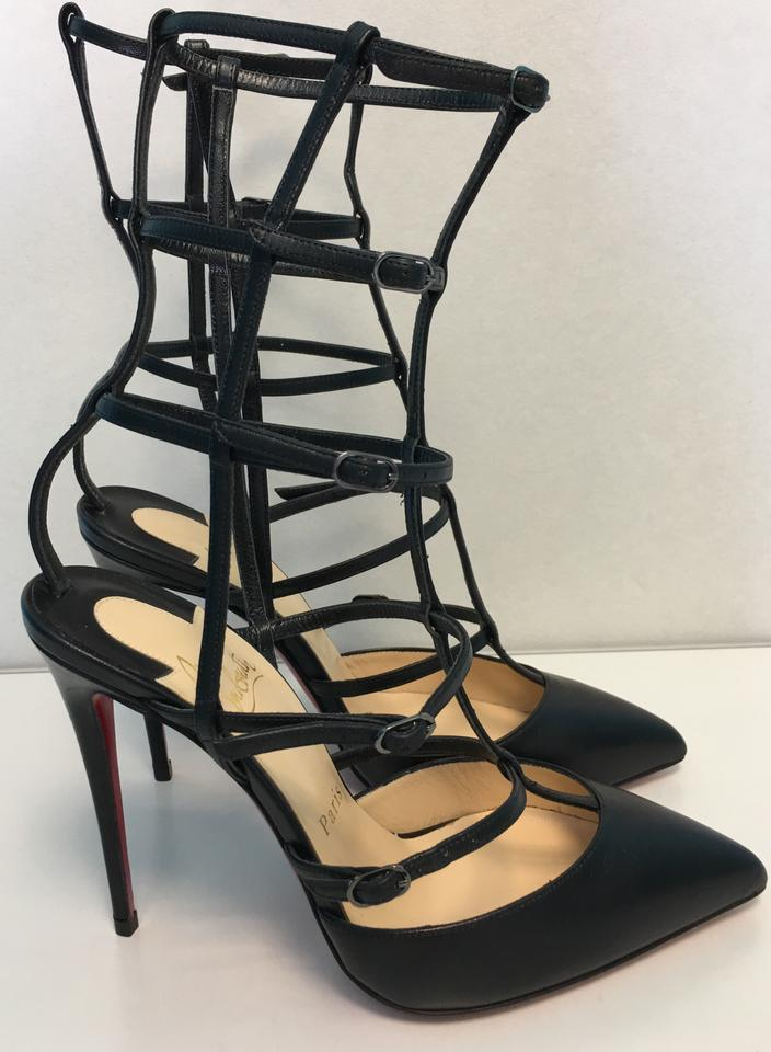 Toe Kadreyana Point Louboutin Christian Heels Classic Black Pumps Strappy Leather 100mm Caged qRq78twd