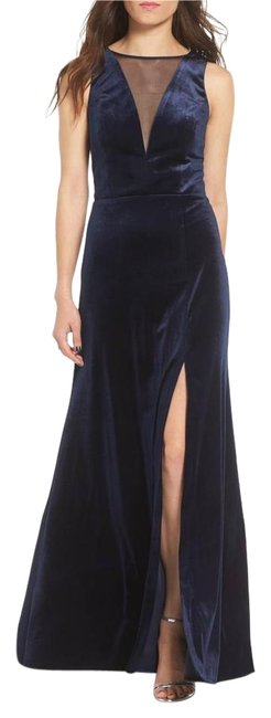 Preload https://img-static.tradesy.com/item/22309249/morgan-and-co-navy-illusion-stretch-velvet-gown-long-formal-dress-size-0-xs-0-1-650-650.jpg