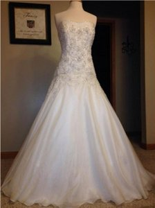 Oleg Cassini Light Ivory Chiffon Lace Romantic Ball Gown ~ True Princess Never Worn Feminine Wedding Dress Size 4 (S)