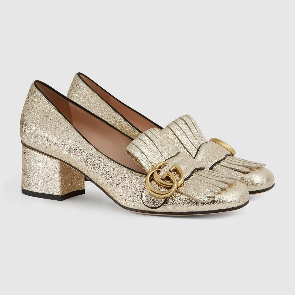 7ee13dd8d96 Gucci Gold Metallic Marmont Classic Laminate Leather Gg Fringe Mid-heel  Pumps