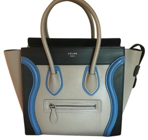 Céline Micro Luggage Tricolor New With Tags Authenticated Tote in Black, Taupe & Quartz