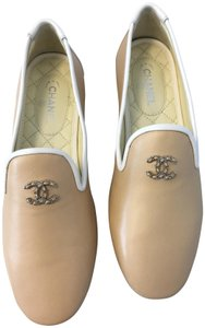 Chanel Loafers Moccasins Classics Beige Flats
