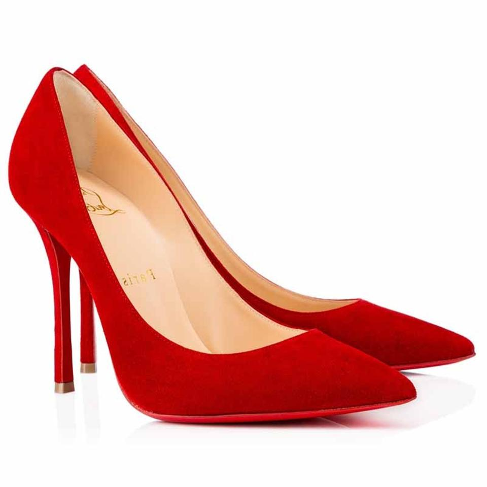 Christian Louboutin Red Classic Decoltish Toe 100mm Suede Leather Point Toe Decoltish Pumps 03171f