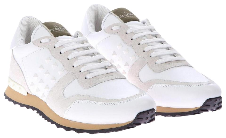0878c7f8b2 Valentino White Mens Classic Rockrunner Low-top Mesh and Leather ...