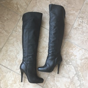 adcb8a19593a Steve Madden Leather Thigh High Over The Knee Stiletto Black Boots