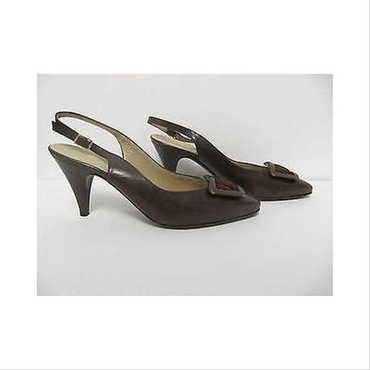Bruno Magli Lucia Leather Slingback Heels Aaa Browns Pumps