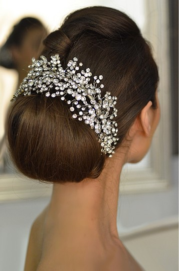 Silver Rhinestone Sprig Headpiece Elena Designs E765 Hair Accessory