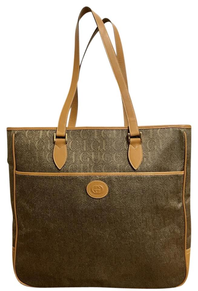 a191f6e484e3 Gucci Tote Brown Tapestry Large Shopper Tan Fabric and Leather ...