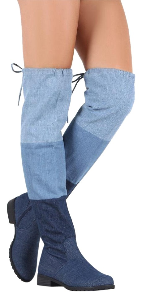 21b745612e Forever Multi-colored Women Colorblock Denim Drawstring Tie Lace Up Over  The Knee High Ridin Boots/Booties