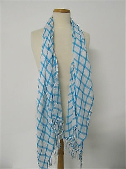 Other Womens Long Blue White Checkered Fashion Scarf With Fringe Detailing