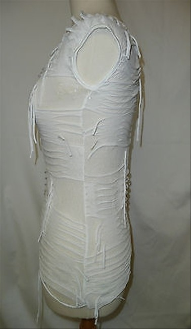 Other Womens Orange White Distressed Sheer Shirt Tunic And Top