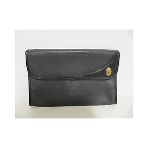 Mark Cross 1846 Coated Canvas Leather Trim Handbag Black Clutch