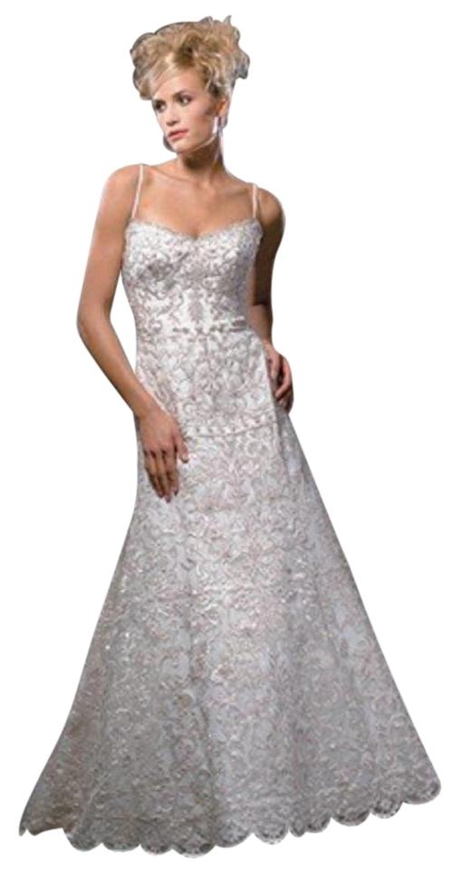 Allure Bridals Champagne/Ivory Satin and Lace 8308 Vintage Wedding ...
