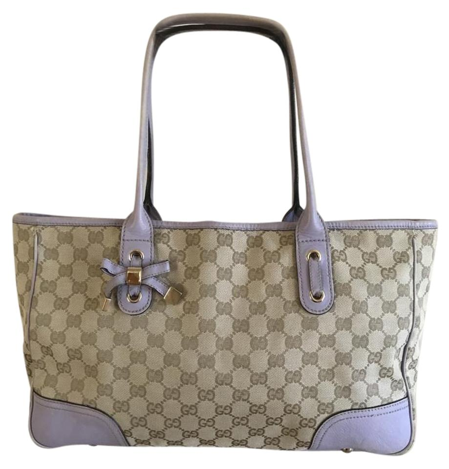 df19b9f8c0ab Gucci Bag Princy Medium In Beige Monogram Canvas and Lavender Leather Trim with  Lilac Tote