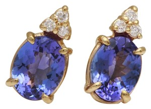 Other 4.18Ct Natural Tanzanite and Diamond 14K Solid Yellow Gold Earrings