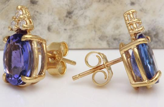 Other 4.18Ct Natural Tanzanite and Diamond 14K Solid Yellow Gold Earrings Image 1