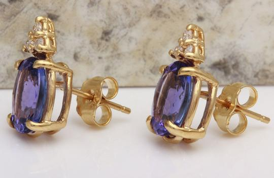 Other 4.18Ct Natural Tanzanite and Diamond 14K Solid Yellow Gold Earrings Image 2