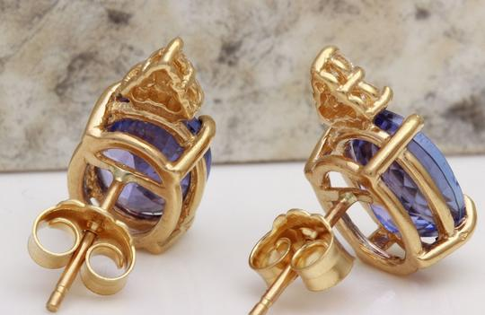 Other 4.18Ct Natural Tanzanite and Diamond 14K Solid Yellow Gold Earrings Image 3