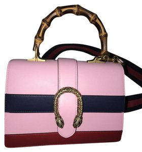 Gucci Dionysus Striped Bamboo Satchel in Pink/Red/Blue