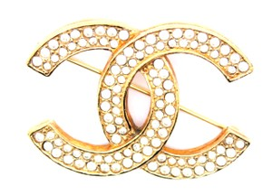 Chanel Pave Crystal CC Brooch