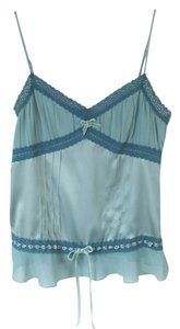 bebe Turquoise Silk 4 Top Blue