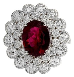 Other 4.00 Carats NATURAL Tourmaline and DIAMOND 14K White Gold Ring