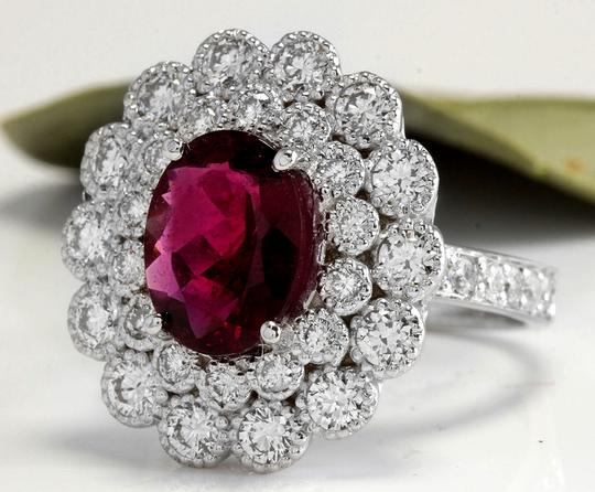 Other 4.00 Carats NATURAL Tourmaline and DIAMOND 14K White Gold Ring Image 1