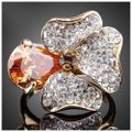 ME-Boutiques Private Label Collection Swarovski Crystals Gold Cognac Flower Ring S8 Image 0