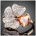 ME-Boutiques Private Label Collection Swarovski Crystals Gold Cognac Flower Ring S8 Image 1