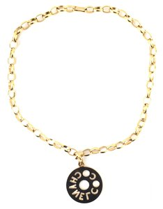 Chanel #14844 CC Oversize cutout Large long gold chain necklace