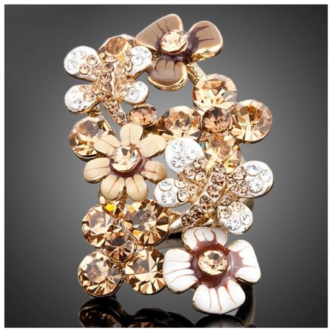 Item - Gold & Brown Made with Swarovski Crystals The Lundy Flower S11 Ring