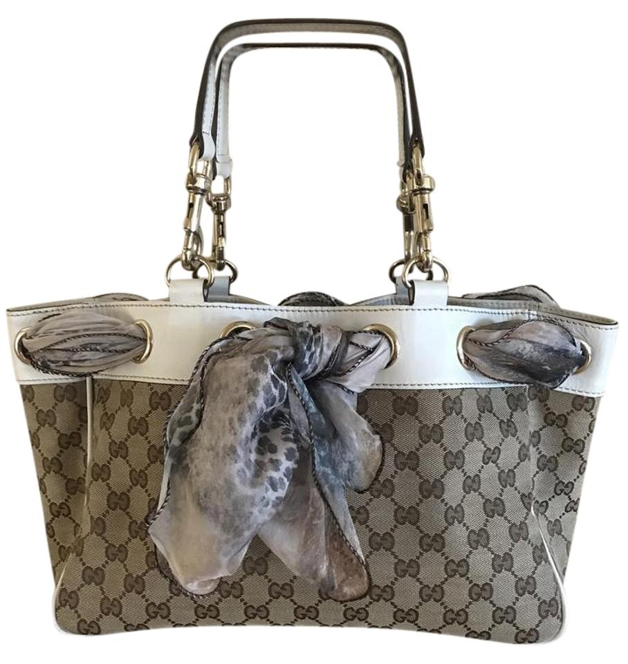 c19b2ab8bcd Gucci Positano Scarf Gg Tote in Brown monogram canvas with cream leather  trim Image 0 ...