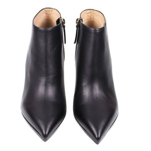 Valentino Leather Heel Studded Pointed Toe Black Boots