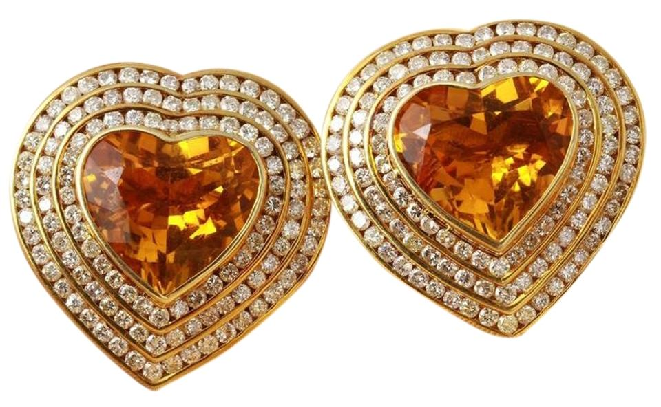 Other 25 75ct Natural Madeira Citrine Diamond 14k Yellow Gold Earrings