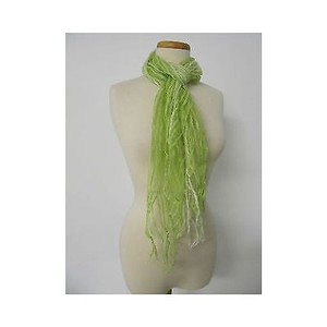 $$$ Long Lightweight Tonal Green Sheer Fashion Scarf With Fringe Detailing