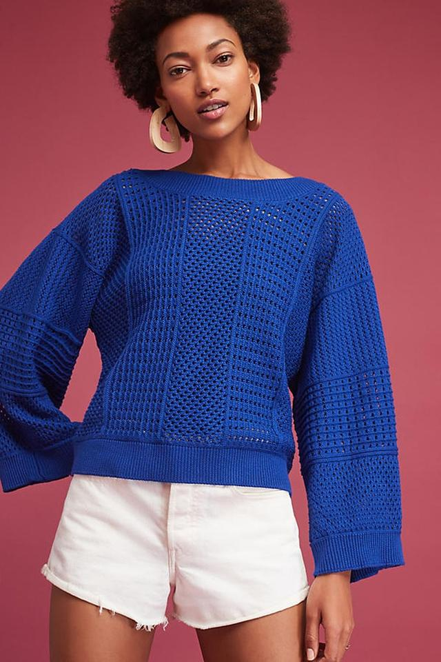 122ab2b8229 Anthropologie Kimono Reese Pullover Sweater By Moth S Blue Sweater ...