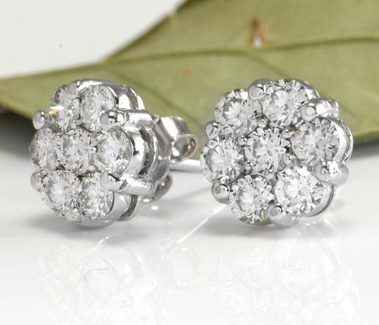 Other 1.25Ct Natural Diamond 14k Solid White Gold Earrings Image 1