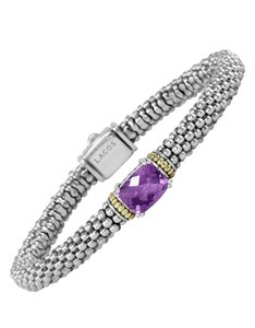 Lagos Metallic 18k Gold And Sterling Silver Prism Amethyst Rope Bracelet, 6m
