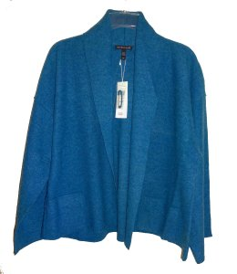 Eileen Fisher Unstructured Optional Pin Closure Front Patch Pockets Shawl Collar Dropped Shoulders Cardigan