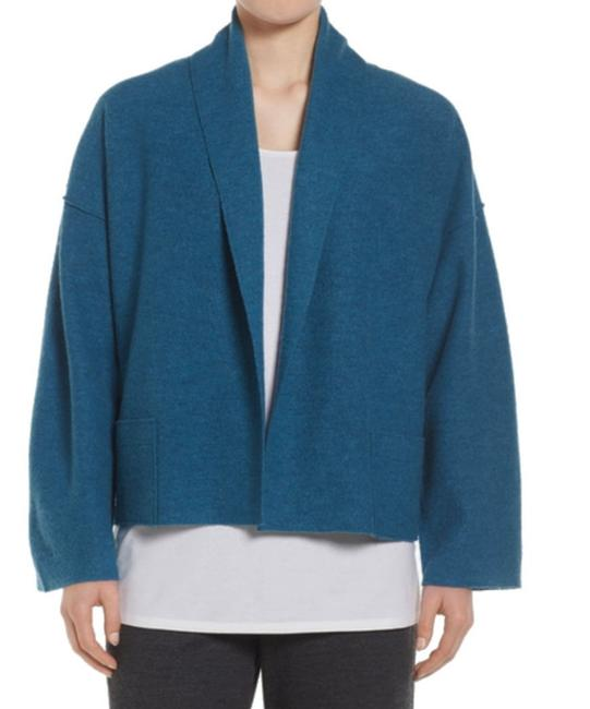 Eileen Fisher Unstructured Optional Pin Closure Front Patch Pockets Shawl Collar Dropped Shoulders Cardigan Image 8