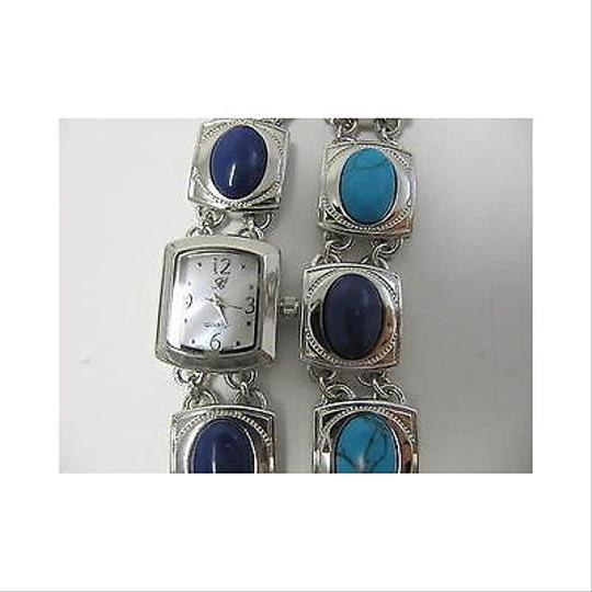 Burgi Burgi Silvertone Watch And Matching Bracelet Blue And Turquoise Pc