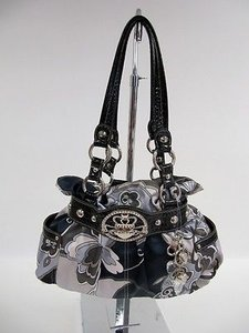 Kathy Van Zeeland Black Gray Majestic Crown Princess Belt Shoulder Cross Body Bag